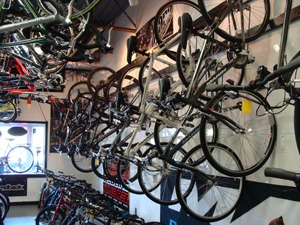 racks of bikes at the bike shop