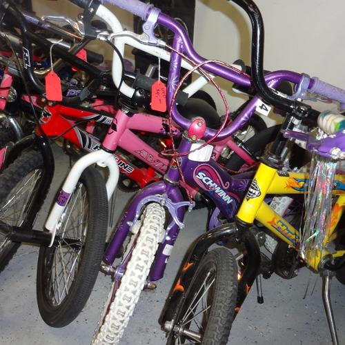 line of used bikes